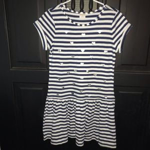 Gymboree striped dress with silver hearts